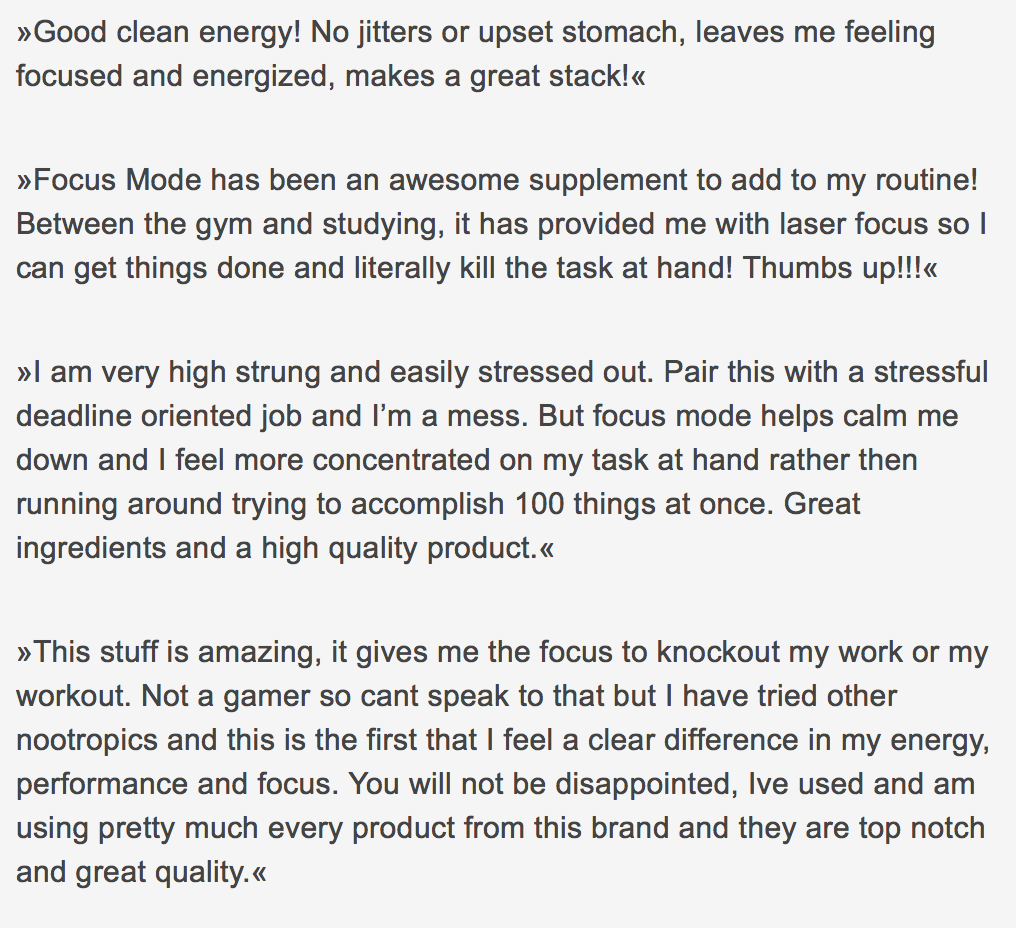 focus mode testimonials